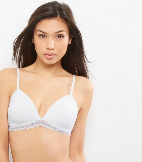 White Moulded Lace Trim Bralet | New Look
