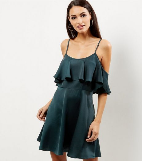 Dark Green Sateen Cold Shoulder Skater Dress | New Look