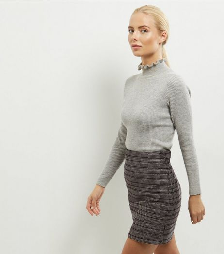 Silver Metallic Jacquard Stripe Mini Skirt | New Look