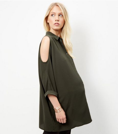 Maternity Khaki Cold Shoulder Shirt  | New Look