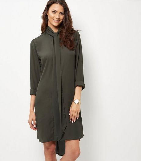 Khaki Crepe Tie Neck Shirt Dress | New Look
