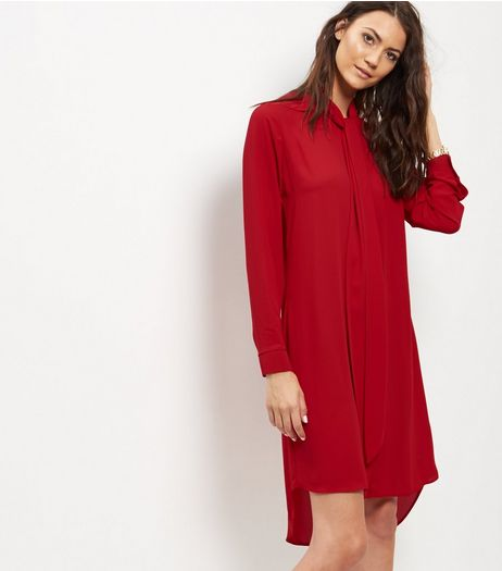 Red Crepe Tie Neck Shirt Dress | New Look