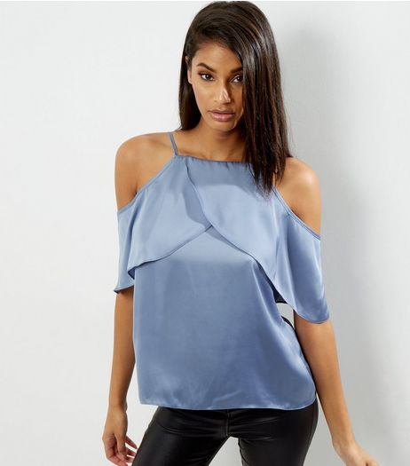 Blue Sateen Cold Shoulder Cami Top | New Look