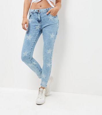 Parisian Blue Star Print Skinny Jeans