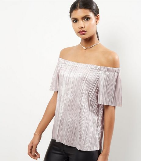 Shell Pink Foil Pleated Bardot Neck Top | New Look