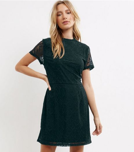 Dark Green Lace Funnel Neck Skater Dress | New Look