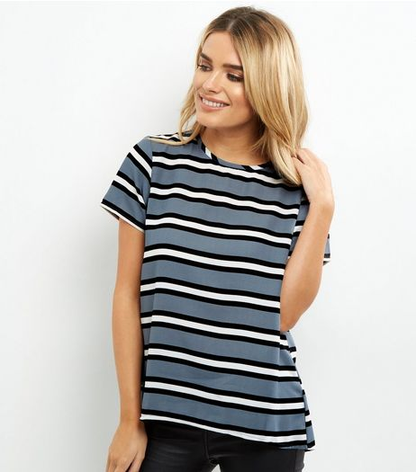 Light Grey Stripe Split Back Top | New Look