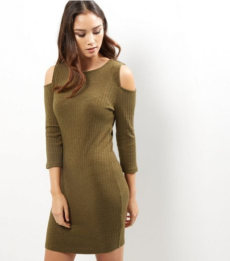 Khaki Ribbed Cold Shoulder Bodycon Dress | New Look