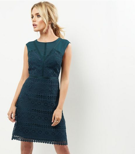 Dark Green Premium Lace Mesh Panel Shift Dress | New Look