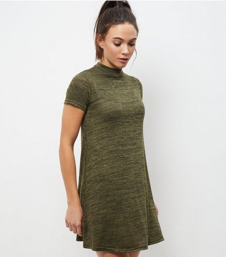 Khaki Funnel Neck Cap Sleeve Swing Dress | New Look