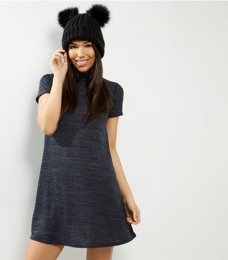 Navy Funnel Neck Cap Sleeve Swing Dress | New Look