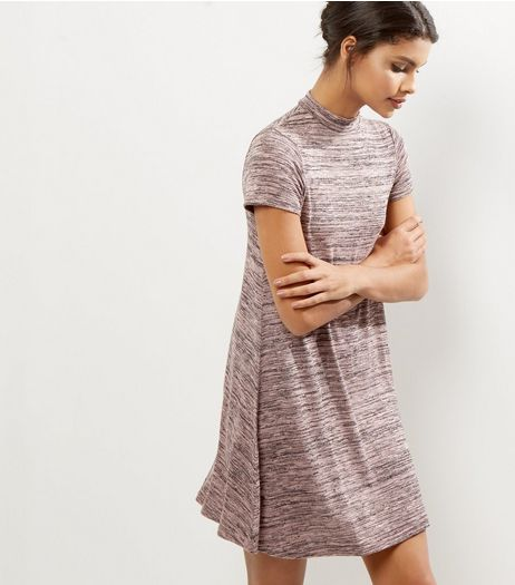 Shell Pink Funnel Neck Cap Sleeve Swing Dress | New Look