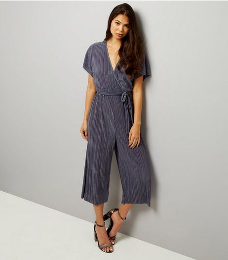 Pale Grey Wrap Front Pleated Culotte Jumpsuit  | New Look
