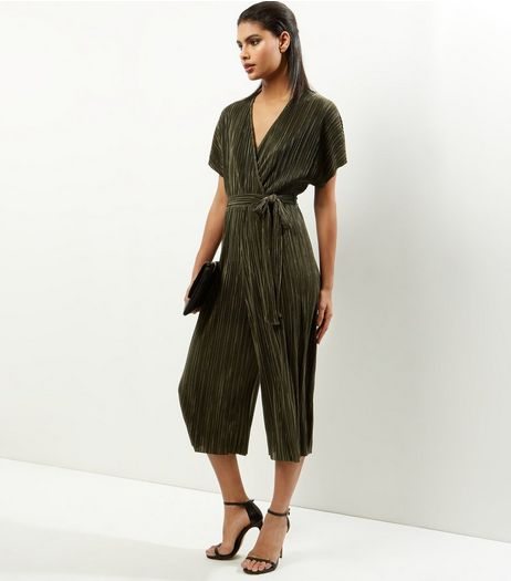 Khaki Pleated Wrap Front Culotte Jumpsuit  | New Look