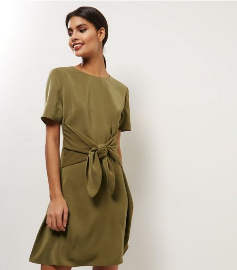 Khaki Wrap Front Short Sleeve A-Line Dress | New Look