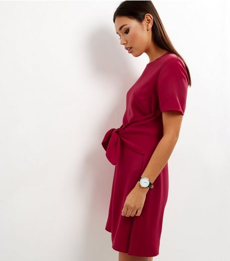 Red Tie Front A-Line Dress | New Look