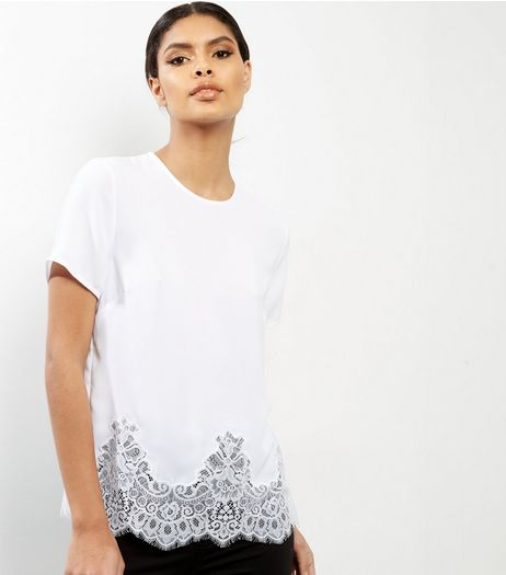 White Lace Hem Short Sleeve T-Shirt  | New Look