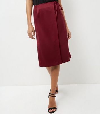 Burgundy Sateen Wrap Pencil Skirt