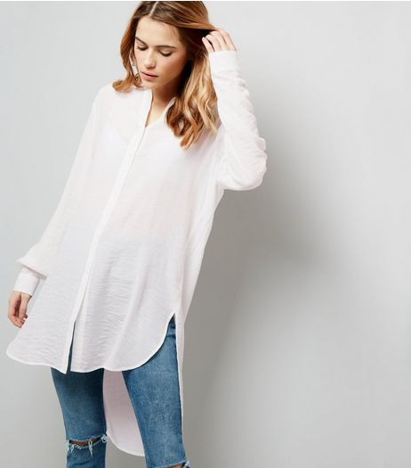 White Dip Hem Longline Shirt | New Look