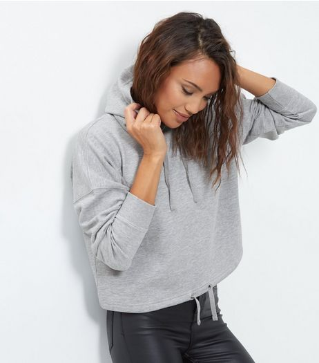 Grey Drawstring Cropped Hoodie   | New Look