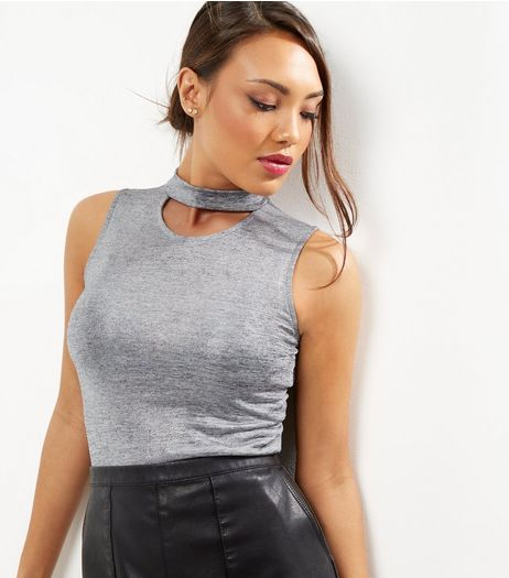 Silver Metallic Choker Neck Top  | New Look