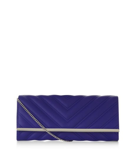 Blue Quilted Clutch | New Look