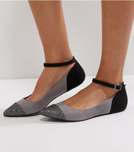 Wide Fit Grey Suedette Glitter Toe Ankle Strap Pumps | New Look