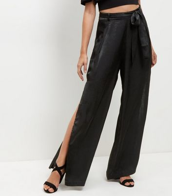 Cameo Rose Black Belted Split Side Trousers