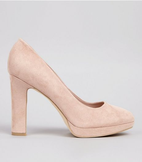 Wide Fit Pink Suedette Court Shoes | New Look