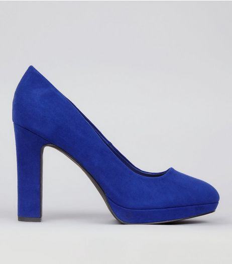 Wide Fit Blue Suedette Court Shoes  | New Look