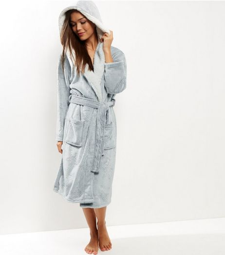 Grey Borg Lined Dressing Gown  | New Look