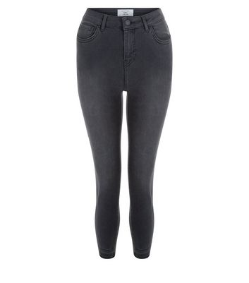 Petite Black Washed Drop Hem Skinny Jeans