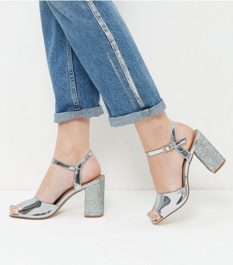 Wide Fit Silver Glitter Block Heels | New Look