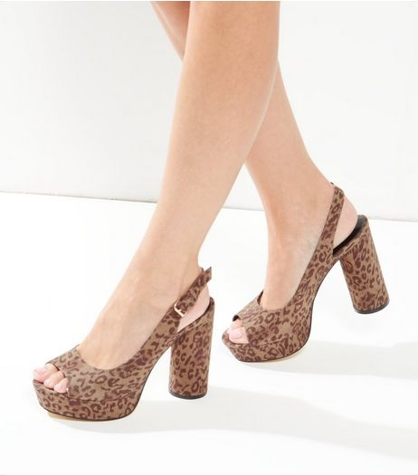 Wide Fit Stone Leopard Print Slingback Block Heel | New Look