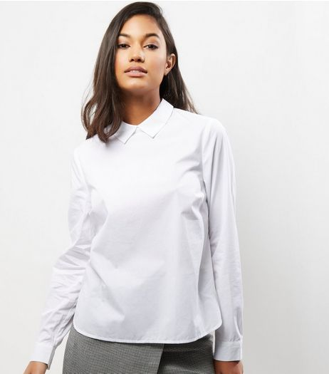 White Button Back Long Sleeve Shirt  | New Look
