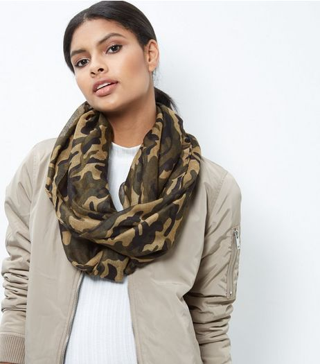 Khaki Camo Print Snood | New Look