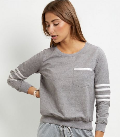 Cameo Rose Grey Stripe Sleeve Jumper  | New Look