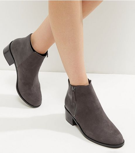 Dark Grey Comfort Suedette Zip Side Ankle Boots | New Look