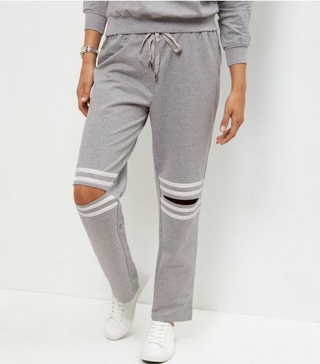 Cameo Rose Grey Ripped Knee Joggers  | New Look