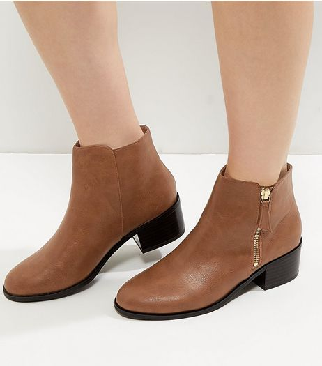 Tan Comfort Leather-Look Ankle Boots | New Look