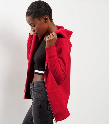 Red Basic Zip Up Hoodie | New Look