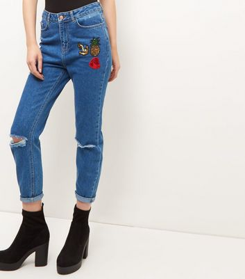 Blue Sequin Badge Ripped Knee Mom Jeans