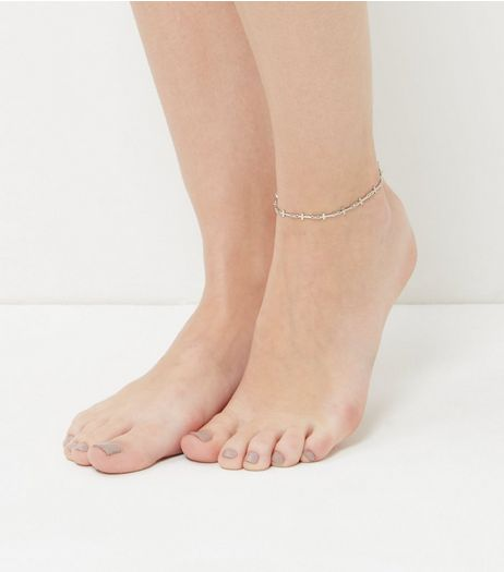 Silver Cross Anklet  | New Look