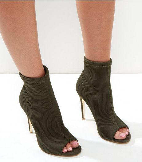 Khaki Elasticated Peep Toe Boots | New Look