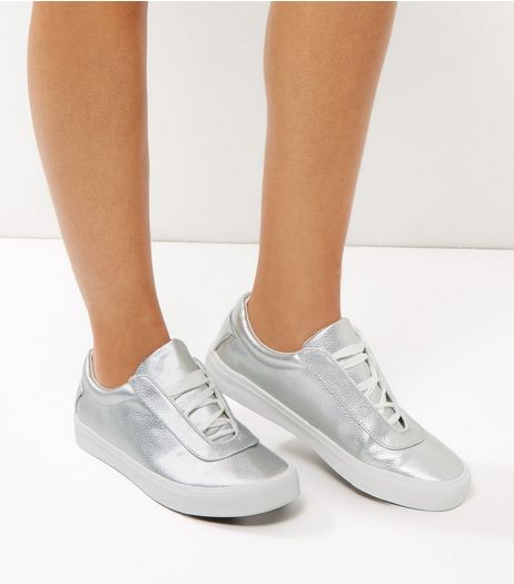 Silver Lace Up Plimsolls | New Look