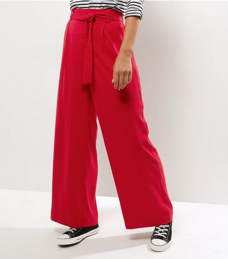 Red Self Tie Wide Leg Trousers | New Look