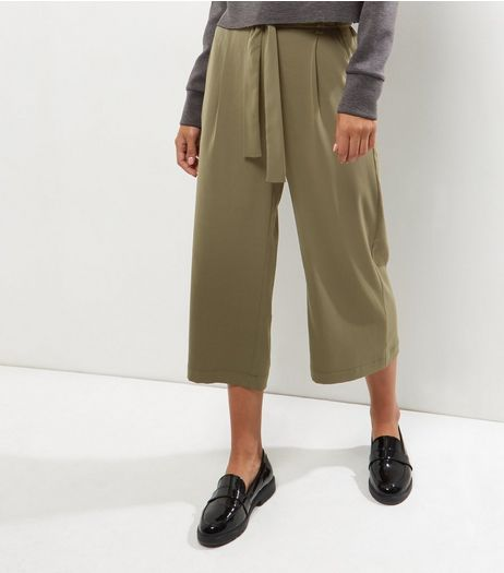 Khaki Tie Waist Wide Leg Cropped Trousers  | New Look