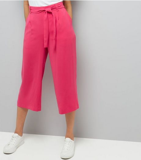 Bright Pink Tie Waist Cropped Trousers  | New Look