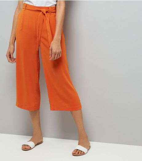 Orange Tie Waist Cropped Trousers | New Look