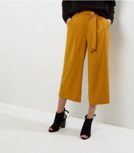Yellow Tie Waist Wide Leg Cropped Trousers  | New Look